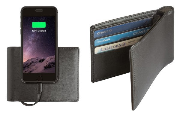Nomad Wallet With Built-in 2400 mAh Battery & Lightning Cable For iPhone, iPad, iPod & Android