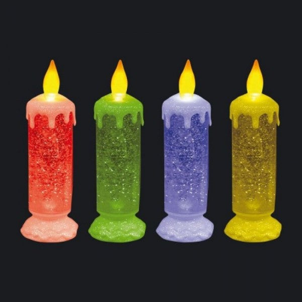 25 cm Swirling LED Color Changing Flame less Glitter Candle