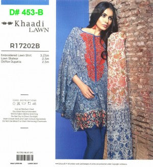 Khaadi Lawn With Chiffon Dupatta & Heavy Neck Embroidery - D# 453-B
