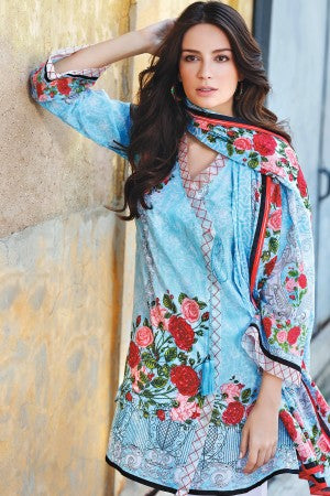 SKY BLUE 3 PC PRINTED LAWN DRESS CL-218 A