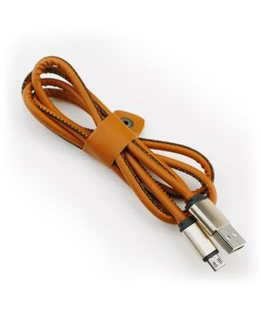 GS Wholeseller Leather Data Cable for Android - Brown
