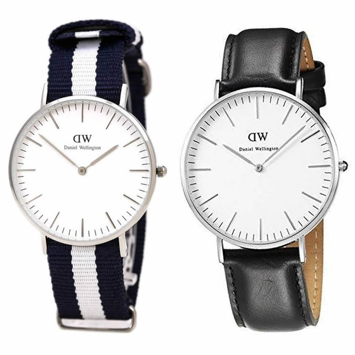 Men's Pack of 2 DW Nylon and Leather Strap Watches
