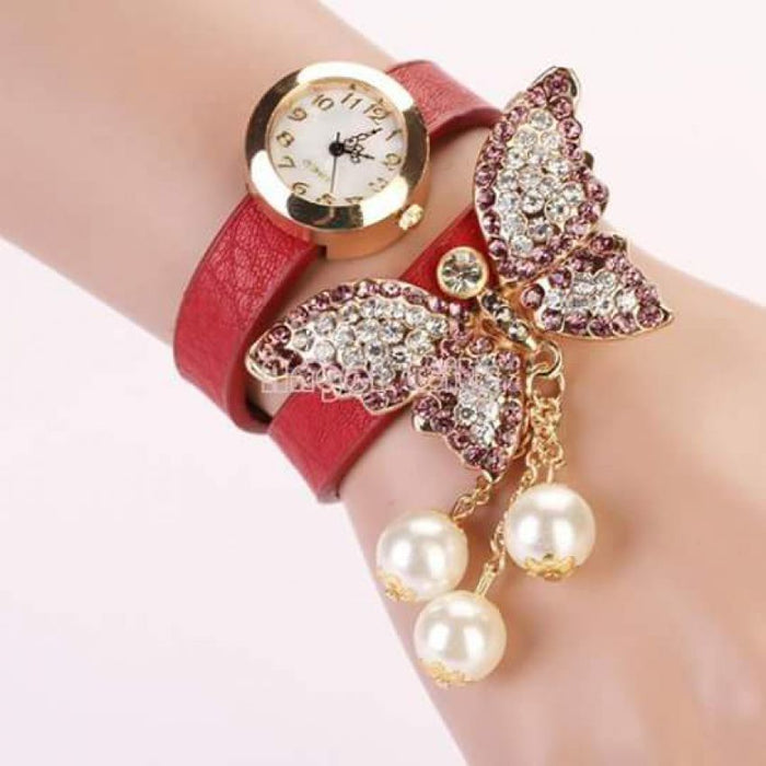 Leather Butterfly Bracelet Watch  (Red Color)