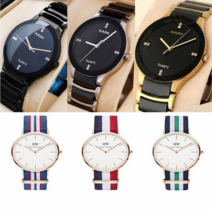 Men's Pack of 6 Watches (3 Rado & 3 DW Watches)