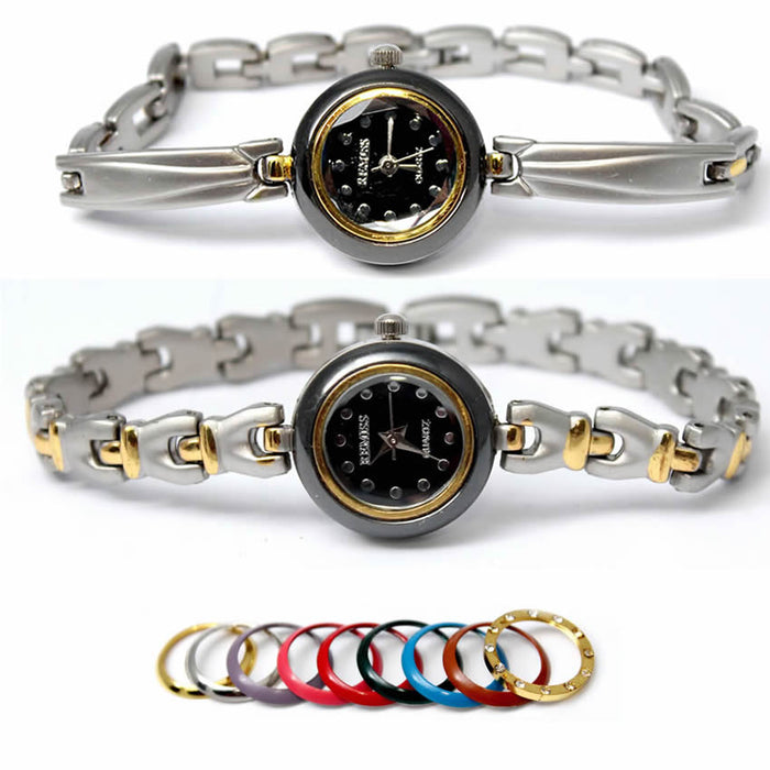 Watches for Women - Pack OF 2 Silver Color Watches For Women with Changeable Multi Color Dial Rings
