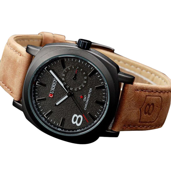 Curren Chronometer Brown Strap Watch For Men