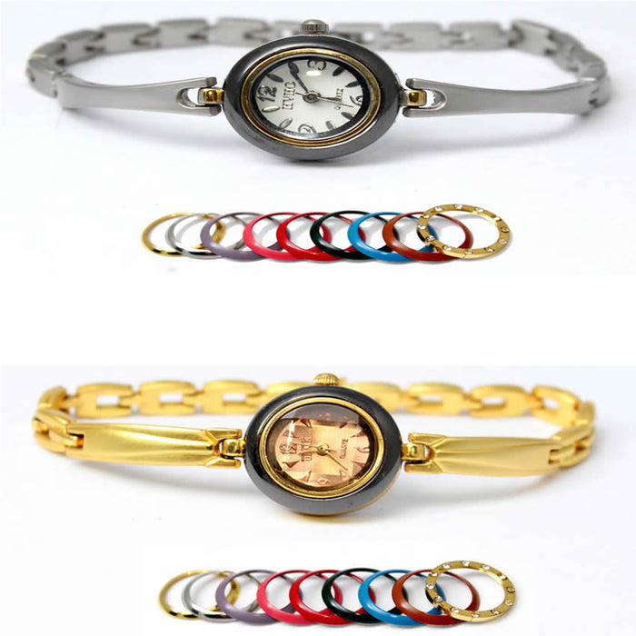 Pack Of 2 Multi Colorful Dial Rings Watches For Women