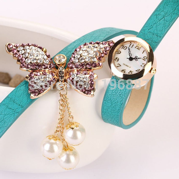 Watches for Women - Leather Butterfly Bracelet Watch - Sea Green Color