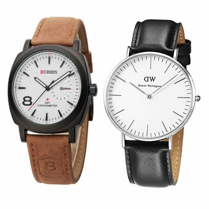 Pack Of 1 Curren + 1 DW Watches For Men