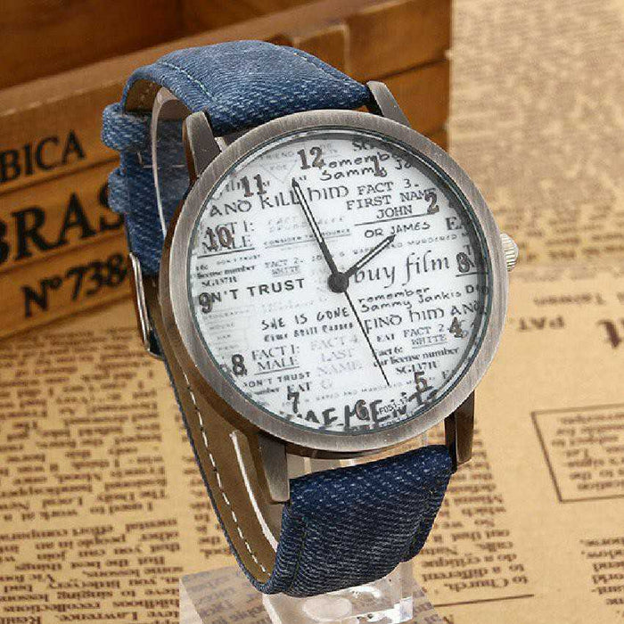 Newspaper Dial Watch with Denim Strap
