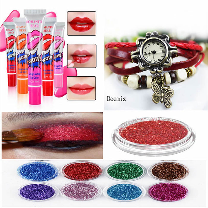 Combo of 4 Wow Lip Gloss + 1 Vintage Watch + 12 Eye Shades