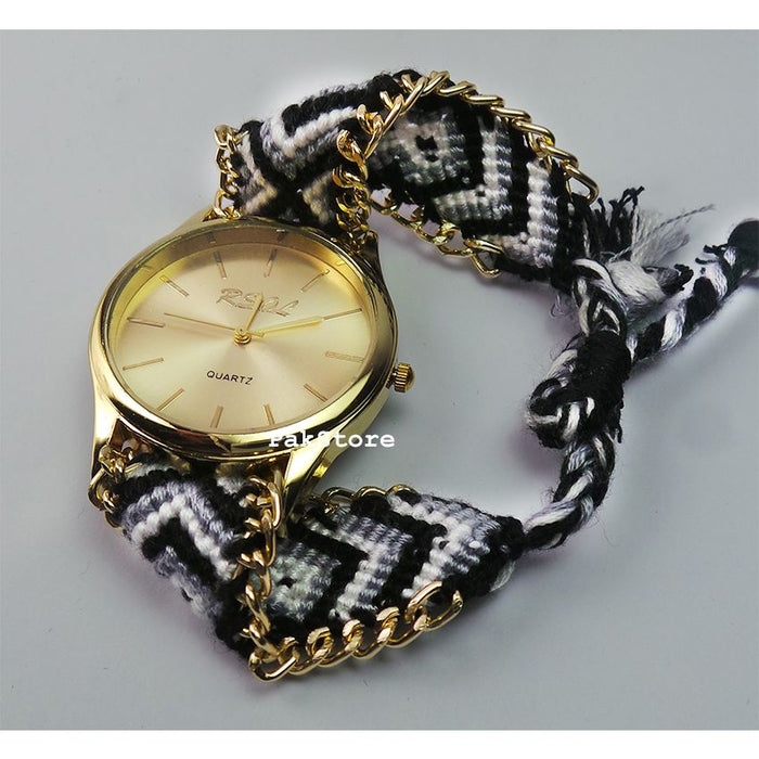 Handmade Black and White Bracelet Watch For Her