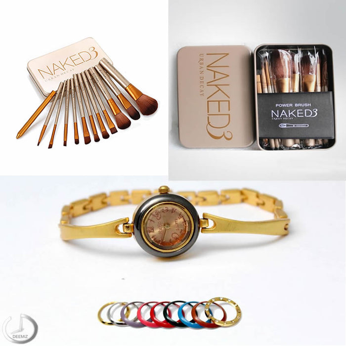 Combo of Naked-3 (12 Makeup Brushes) + 1 Golden Watch