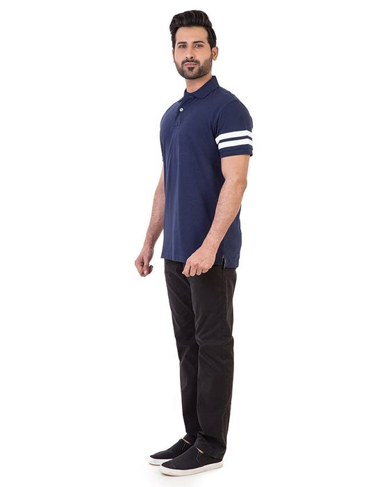 Gul Ahmed Navy Blue Pique Polo T-Shirt For Men - PKP-URB-11-1