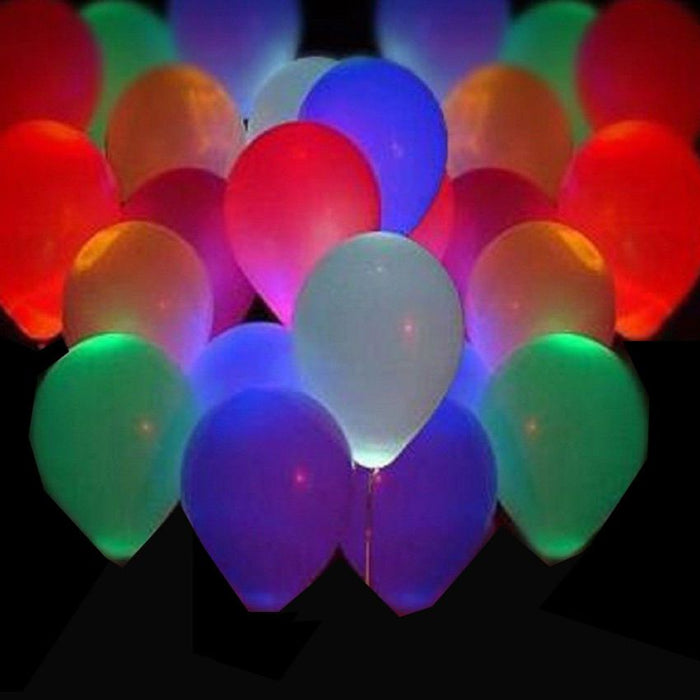 Pack Of 10 Glowing LED Balloons Flashing