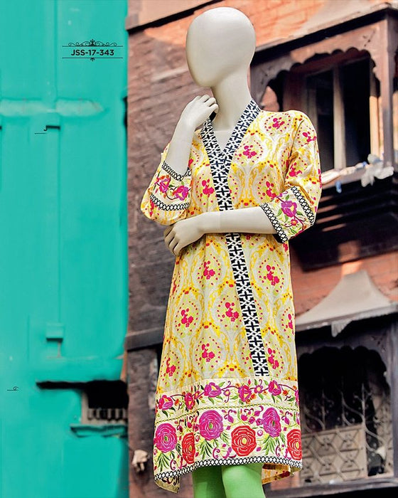 Junaid Jamshed Yellow Lawn Stitched Kurti for Women  - JJJLK-JSS-S-17-343 FB/Geomatric