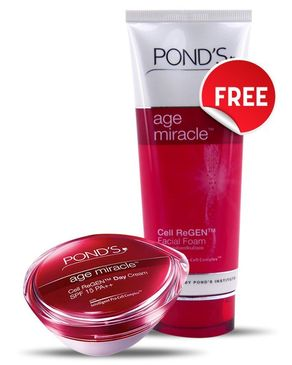 Ponds FREE  Age Miracle Face Wash 100g with Age Miracle Day Cream 50g