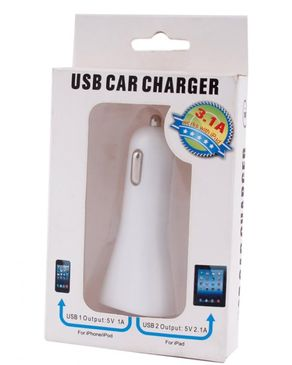 Mobeccories USB Car Charger - White
