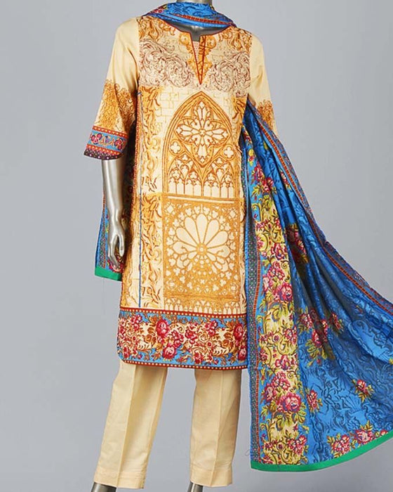Junaid Jamshed Blue Lawn 3-Piece Unstitched Suit for Women