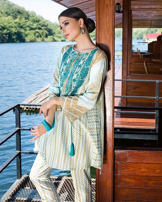 Gul Ahmed Sea Green Spring/Summer 2017 Collection Two Piece Embroidered Lawn-TL # 21 B