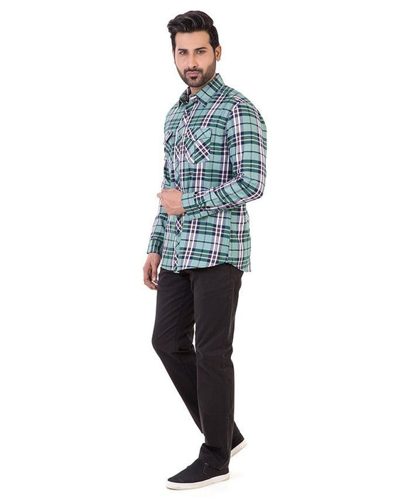 Gul Ahmed Green Cotton Casual Shirt For Men - Cm-Yd-1901