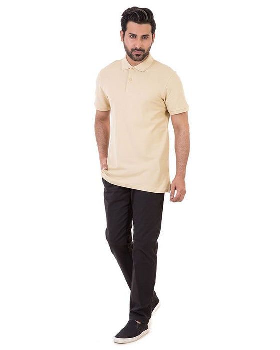 Gul Ahmed Beige Pique Signature Polo Shirt For Men - PKP-SB-06