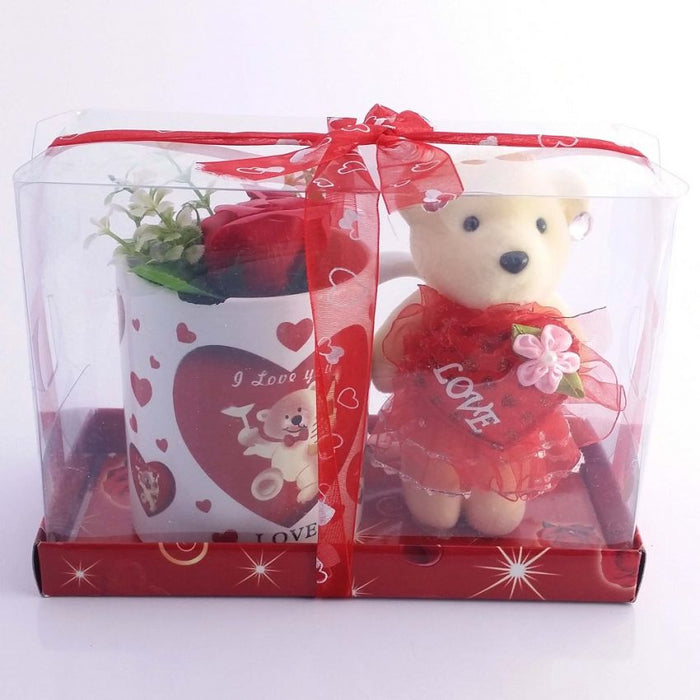 Perfect Valentine Gift Pack Of 2 - I Love You Tagged Cup & Teddy bear