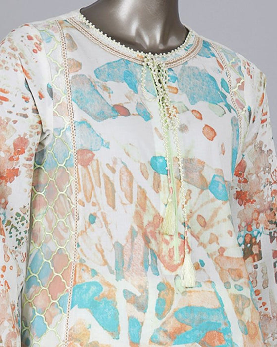Junaid Jamshed Turquoise Lawn 2pc Unstitched Shirt with Trouser for Women - JLAWN-S-JST-17-1604/A Gouache