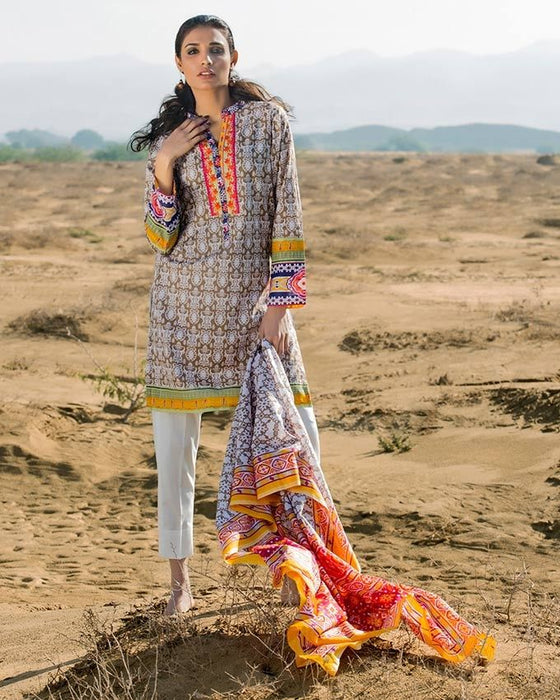 Gul Ahmed Brown Spring/Summer 2017 Collection  Two Piece Printed Lawn-TL # 82 B