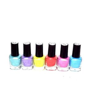 Eyeshah's Pack of 6 Funky Peel Off Nail Polish - Multicolour