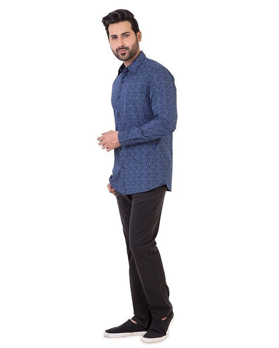 Gul Ahmed Navy Blue Cotton Casual Shirt For Men - Cm-Yd-1905