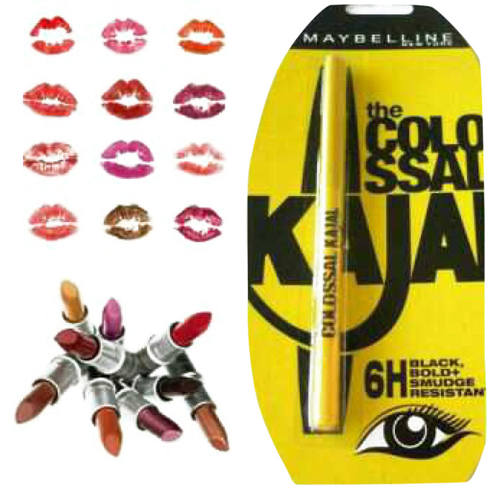 Pack of 10 maybelline lipsticks with free kajal