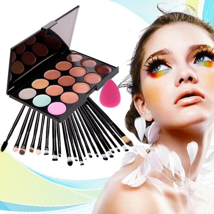 Combo of Concealer Palette + Eye Make-up Brushes + Makeup Blender