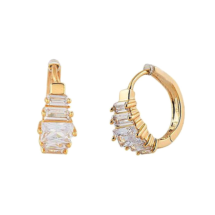 Gold Plated Zircon Earrings for Ladies
