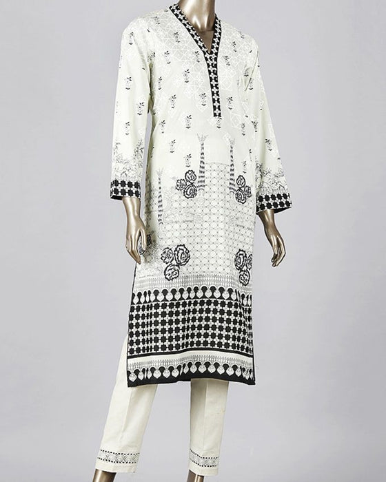 Junaid Jamshed Off-White Lawn 3-Piece Unstitched Suit for Women