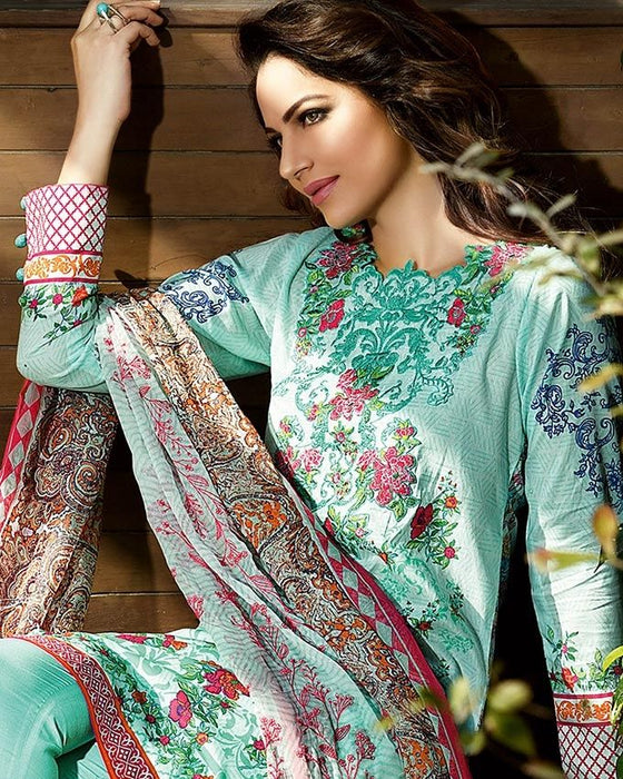 Gul Ahmed Sea Green Spring/Summer 2017 Collection Embroidered Chantilly De Lace-CT # 170