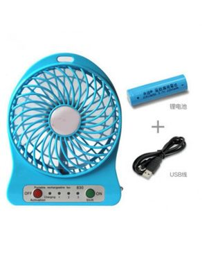 Y.Ali USB Rechargable Fan With Power Bank - Blue
