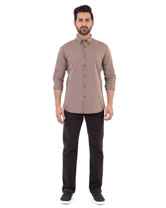 Gul Ahmed Brown Cotton Casual Shirt For Men - Cm-Yd-1903