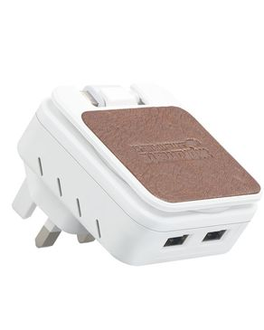 PROMATE 4.4A Charger with Dual USB Ports & Lightning Connector - White