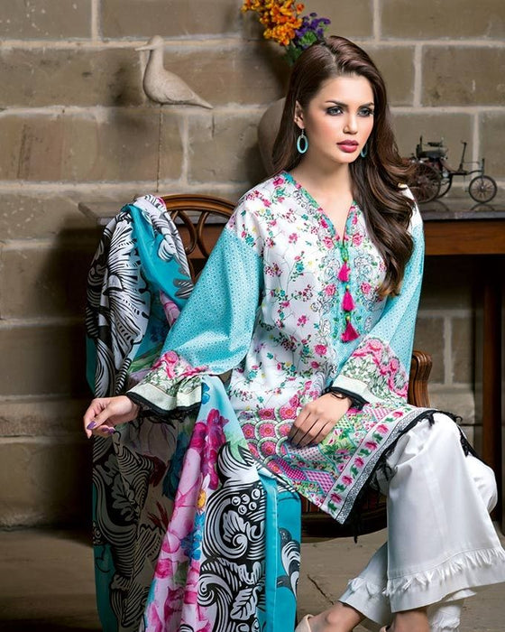 Gul Ahmed Sky Blue Spring/Summer 2017 Collection Two Piece Printed Lawn-TL # 75 B