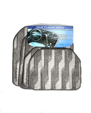 Shop Now Universal Carpet Mats For All Cars - 5 pc - Grey & Black