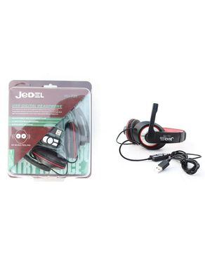 Jedel Hu 728 - USB Gaming Headphones - Black & Red