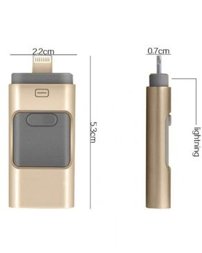 GS Wholeseller iFlash - 32GB - 3-in-1 - USB OTG Flash Drive - Golden