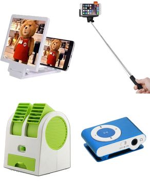 Fashion Mart 4 in 1 Deal - Mini Usb Fan, Mp3 Player, Selfie stick & Mobile Screen Magnifier