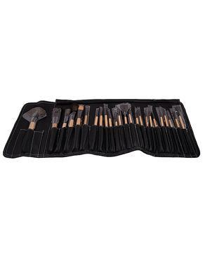 Glamorous Face Leather Case Brush Set For Women - 24 Pcs - Black