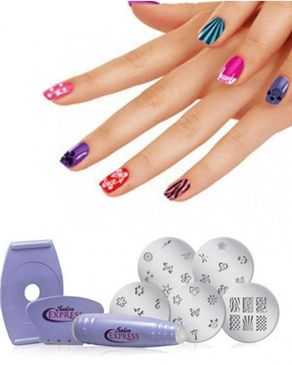 Deals Salon Express Nail Art Stamping Kit For Women - Multicolor