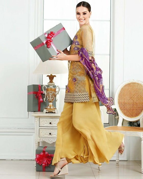 Gul Ahmed Mustard Festive Collection 2017 Eid Festive 3 Pc Premium Embroidered Chiffon-FE # 66 Unstitched