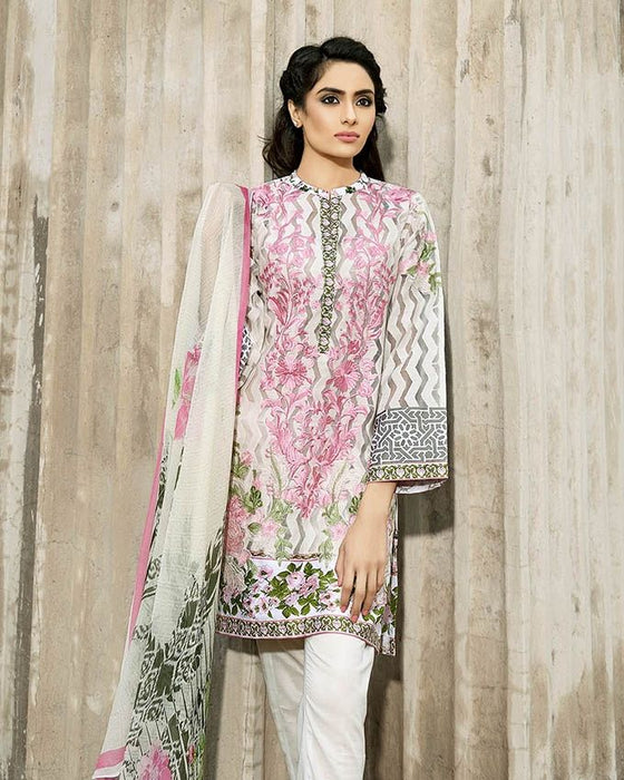 Gul Ahmed Off White Unstitched Spring/Summer 2017 Collection Blended Embroidered Chiffon-BM # 38