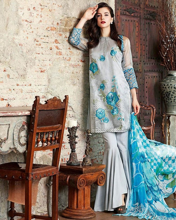 Gul Ahmed Grey Festive Collection 2017 Eid Festive 3 Pc Premium Embroidered Chiffon-FE # 67 Unstitched