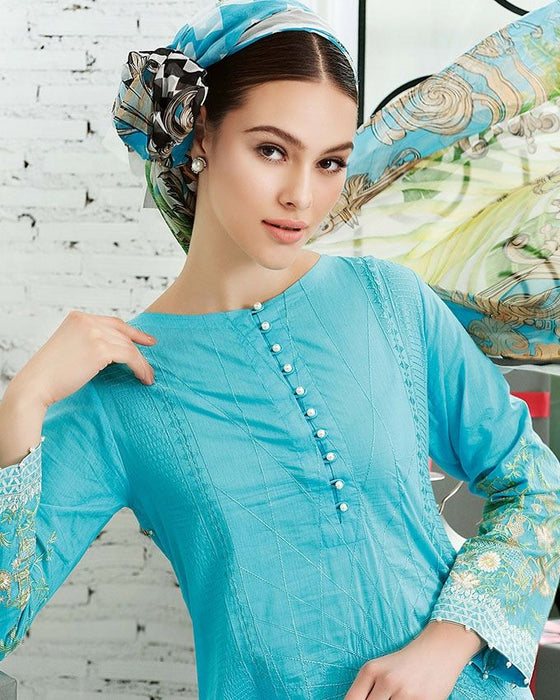 Gul Ahmed Blue Festive Collection 2017 Eid Festive 3 Pc Premium Embroidered Chiffon-FE # 16 Unstitched